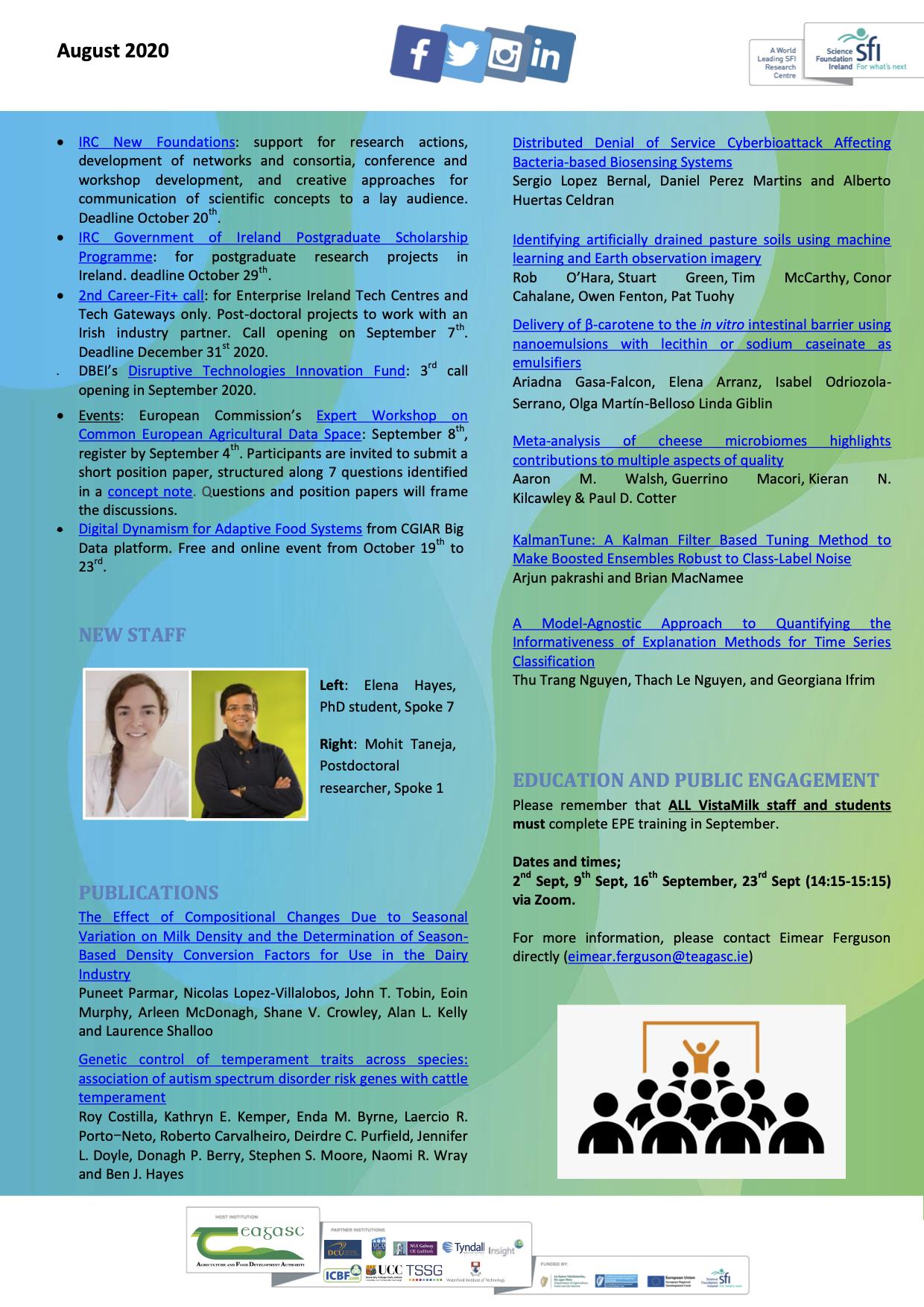 VistaMilk August 2020 Updates   VistaMilk