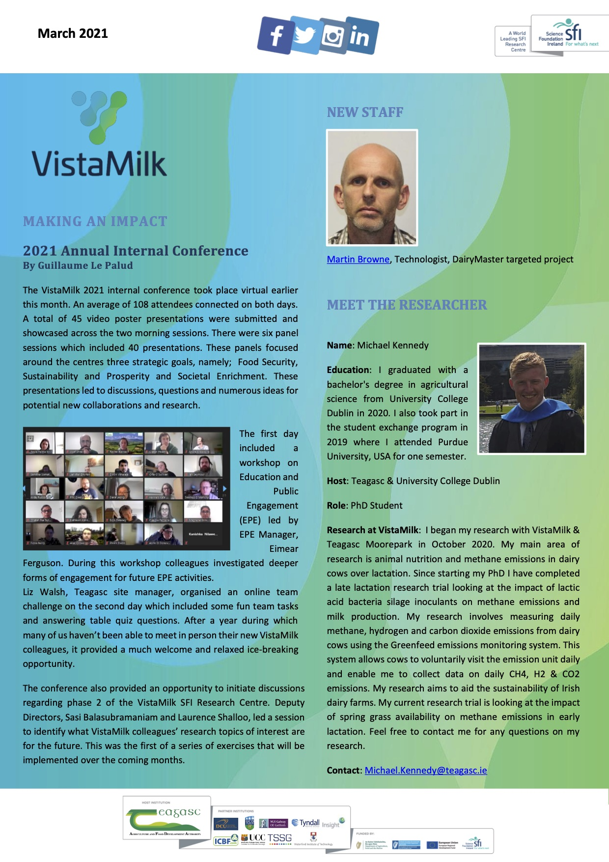 VistaMilk March 2021 Updates | VistaMilk